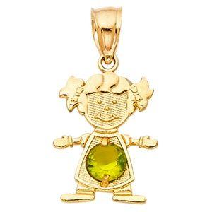 14kY Gold August Birthstone CZ Girl Pendant